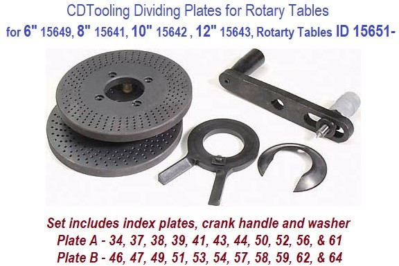 Dividing Plates for Rotary Tables 6 15649, 8 15652, 10 15653, 12 15654 Inch ID Numbers ID 15651-