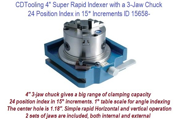 4 Inch Super Rapid Indexer with a 3-Jaw Chuck 24 position index in 15 Degree Increments ID 15658-