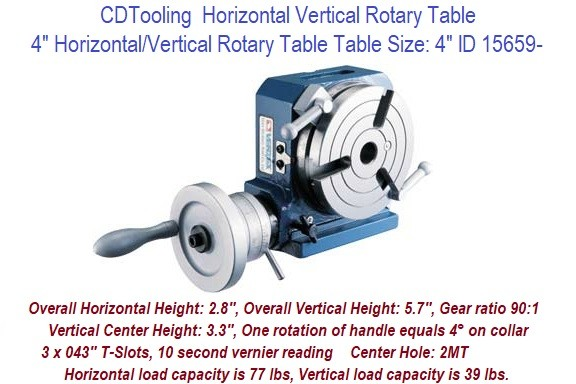 4 Inch Horizontal Vertical Rotary Table 4 Inch Table Size, Center Hole 2MT ID 15659-