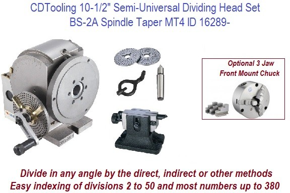 10-1/2 Inch Semi-Universal Dividing Head Set Spindle Taper MT4 ID 16289-