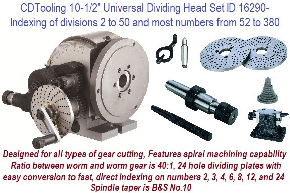 10-1/2 Inch Universal Dividing Head Set indexing divisions 2 to 50 and 52 to 380 Designed for all types of gear cutting ID 16290-