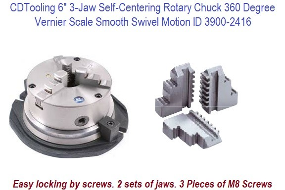 6 Inch 3 Jaw Self Centering Rotary Chuck 60 Degree Vernier Scale with Smooth Swivel Motion ID 16292-