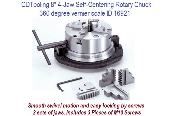 8 Inch 4 Jaw Self Centering Rotary Chuck 60 Degree Vernier Scale with Smooth Swivel Motion ID 16291-