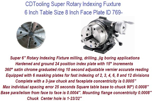 Super Rotary Indexing Fixture 6 Inch Table Size 8 Inch Face Plate ID 769-