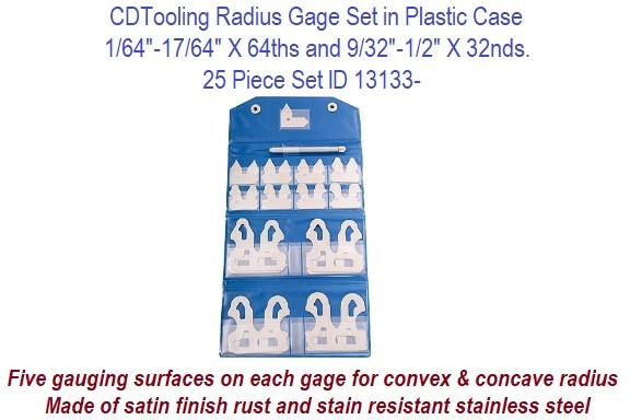 Precision Radius Gage Set 1/16 -17/64 x 64ths and 9/32 to 1/ x 32nds ID 13133-