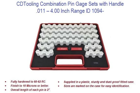 .011 - 4 Inch Size Combination Pin Gage Sets with Handle ID 1094-