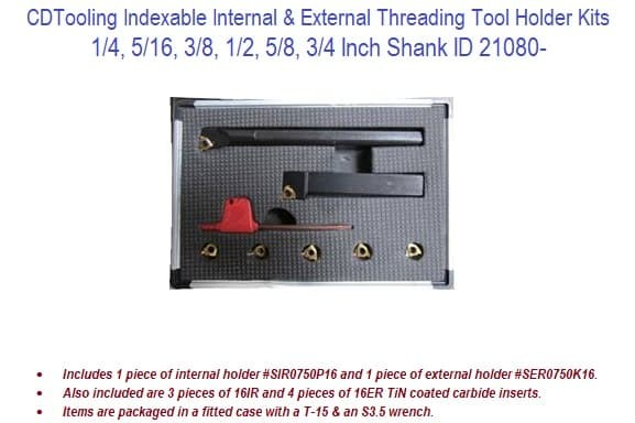 Indexable Internal and External Threading Tool Holder Kits - 1/4 - 3/4 Inch Shank ID 21080- (COPY)