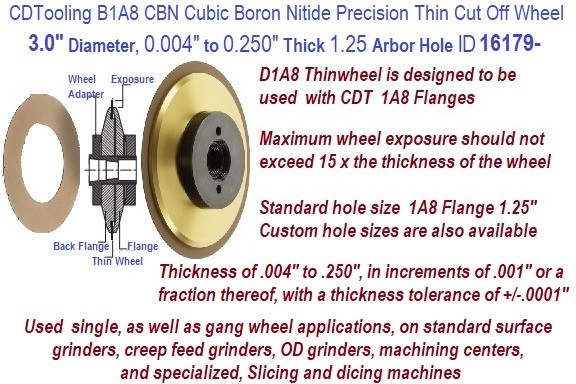 B1A8 Precision Ultra Thin CBN Cubic Boron Nitride Cut off Wheels 3 Inch Diameter 0.004 to 0.250 Thickness Customer Choice ID 16179-