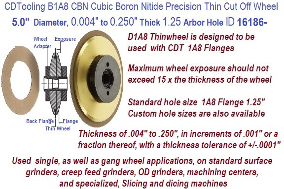 B1A8 Precision Ultra Thin CBN Cubic Boron Nitride Cut off Wheels 5 Inch Diameter 0.004 to 0.250 Thickness Customer Choice ID 16186-