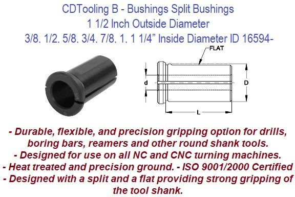 Style B - 1 1/2 Inch Outside Diameter X 3/8 1/2 5/8 3/4 7/8 1 1 1/4 Inch Inside Diameter - CNC Bushing ID 16595-