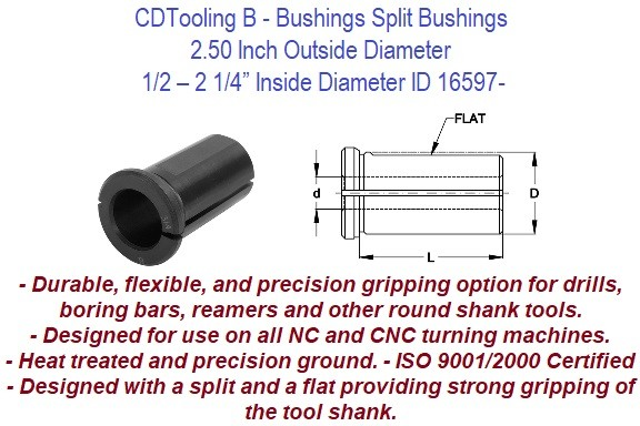 Style B - 2 1/2 Inch Outside Diameter - 1/2 5/8 3/4 7/8 1 1-1/4 1-1/2 1-3/4 2 2-1/4 Inch Inside Diameter - CNC Bushing ID 16600-