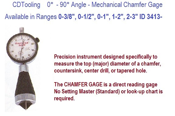 0 to 90 Degree Angle Mechanical Chamfer Gage 0-3/8 0-1/2 0-1 1-2, 2-3 Inch Ranges ID 3413