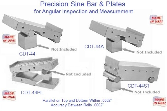 Precision Sine Plate and Bars 2-1/2, 2-5/8, 3, 4 inch Wide, 3-3/4 and 6 Long  ID 1614-