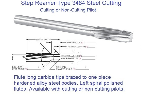 Carbide Tipped Step Reamer with Pilot Left Hand Spiral .2841 thru 1.503 Dia Series 3484 for Steel