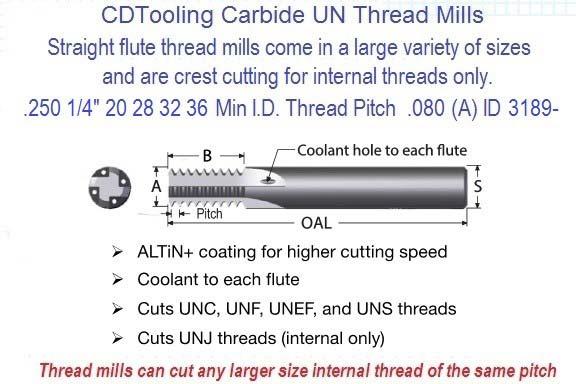 """Micro 100 TM-250-16 1//4/"""" x 1//4/"""" Shank Carbide Thread Mill"""