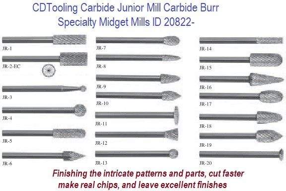 Junior Mills, Carbide Burr Midget Mills 1/8 Diameter x 1-1/2 Inch Long ID 20822-