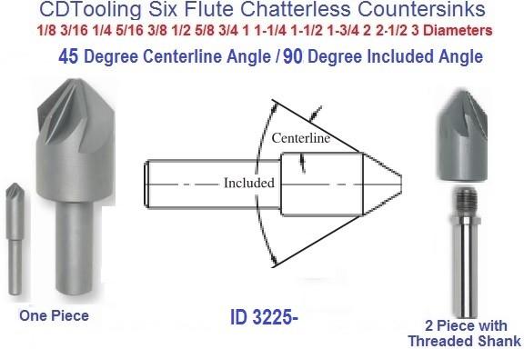 """1//8/"""" 100 Degree 6 FLUTE HSS CHATTERLESS COUNTERSINK"""