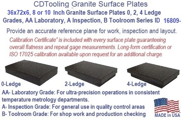 36 x 72 x 6, 8 or 10 Inch Granite Surface Plates 0, 2, 4 Ledge Grades, AA Laboratory, A Inspection, B Toolroom Series ID 16809-