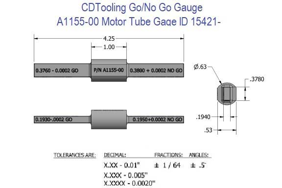 Go/No Go Gauge 1155-00 Motor Tube Gage ID 15241-