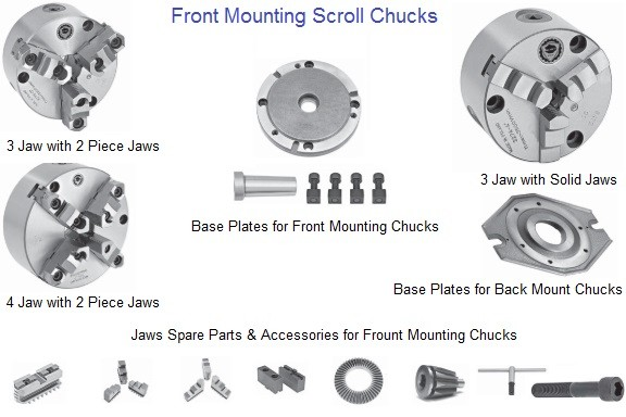 Lathe Chuck 3 and 4 Jaw Front Mounting Scroll Chucks 4 5 6 8 10 12 16 Inch Bison Bial ID 660-